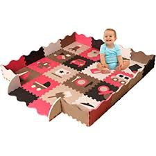 Amazon Com Baby Foam Play Mat With Fence Interlocking Crawling Mat With 16 Foam Floor Tiles Baby