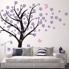 Amazon Com Cherry Blossom Wall Decal Kids Wall Art Baby Nursery Wall Decal Trailing Cherry Blossom Tree With Butterflies 2 Tree Trunk Black Flowers Hydrangea Purple Butterflies Soft Pink Home Kitchen