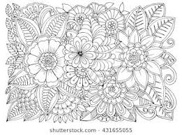 Vector Monochrome Floral Doodle Flowers In Black And White For