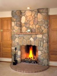 river rock on a fireplace surround