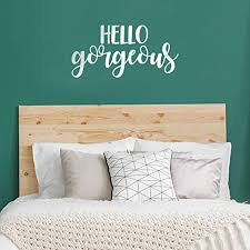 Amazon Com Vinyl Wall Art Decal Hello Gorgeous 11 X 23 Beautiful Chic Cursive Motivational Optimistic Funny Quote Sticker For Women Bedroom Closet Girls Room Office Boutique Feminine Decor White