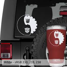 Autobot Decepticon Yin Yang Symbol Vinyl Decal Jeep Decal
