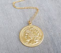 gold long necklace gold coin necklace