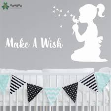 Yoyoyu Wall Decal Quotes Make A Wish Girls Bedroom Vinyl Wall Sticker Removable Nursery Room Art Mural Adhesive Home Decor Ct482 Wall Stickers Aliexpress