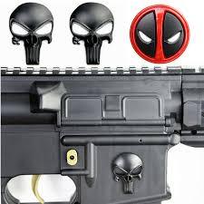 3d Punisher Skull Deadpool Magwell Metal Decal Badge Sticker For Ar15 Ak47 M4 M16 Airsoft Rifle Pistol Gun Hunting Accessories Hunting Gun Accessories Aliexpress