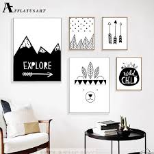Afflatus Explore Child Wall Art Canvas Painting Nordic Posters And Prints Black White Nursery Wall Pictures Kids Room Decor Posters And Prints Nordic Posterwall Pictures Aliexpress