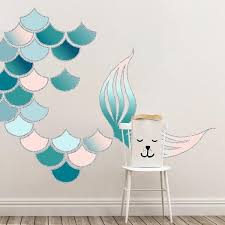 Nursery Art Decals Use Wall Decals To Create Abstract Mermaid Art With Mermaid Scales And A Large Tail Ea Mermaid Room Decor Mermaid Wall Decor Mermaid Room