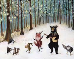 Forest Festivities Print Woodland Animals Nursery Wall Art Etsy