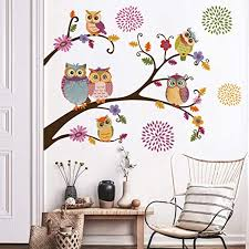 Amazon Com Decalmile Owl Tree Branch Wall Stickers Flower Wall Decals Kids Baby Nursery Bedroom Wall Decor Home Kitchen