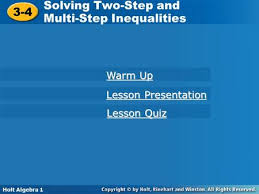 Holt McDougal Algebra 1 Solving Two-Step and Multi-Step Equations Solving  Two-Step and Multi-Step Equations Holt Algebra 1 Warm Up Warm Up Lesson  Quiz. - ppt download