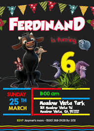 Ferdinand The Bull Birthday Invitation Invitacion Cumpleanos