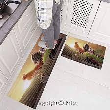 kitchen rugs set 2 piece non slip