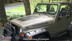 Hood Blackout Distressed Oscar Mike Vinyl Decal Fits Jeep Wrangler Jk Roe Graphics And Apparel