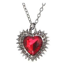red spiked stone heart necklace hot