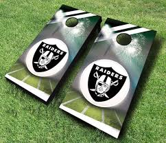 Las Vegas Raiders Stadium Smoke Cornhole Set With Bags Custom Cornhole Llc