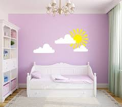 Sunshine Decal Wall Sticker With Clouds Princess Fairy Tale Sun Light Yellow White Rays Da Nursery Wall Decals Wall Stickers Clouds Damask Wall Decals