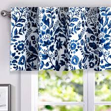 Driftaway Julia Sketch Lined Thermal Insulated Energy Saving Window Curtain Valance For Living Room Bedroom Kitchen 2 Layer Rod Pocket 52 X18 2 Header Navy Walmart Com Walmart Com