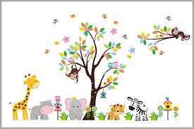 Super Sweet Jungle Animals Decal Baby Girl S Themed Nursery Decor Nurserydecals4you