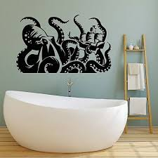 Vinyl Wall Decal Kraken Octopus Ship Tentacles Nautical Bathroom Stickers Ig5064 Ebay