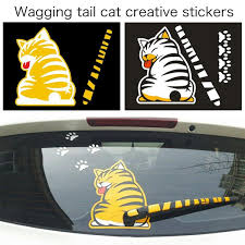 3d Car Stickers Funny Cat Moving Tail Reflective Rear Windshield Decor Car Styling Stickers Window Wiper Decals Wish
