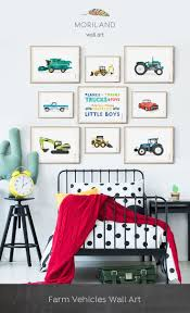 Farm Vehicles Preschool Digger Print Watercolor Art Vintage Car Art Vehicle Art Truck Print Trans In 2020 Toddler Boy Room Decor Toddler Room Decor Boy Girl Room
