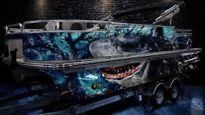 2020 Custom Pontoon Boat Wrap Design Shark Greenback Wraps Com