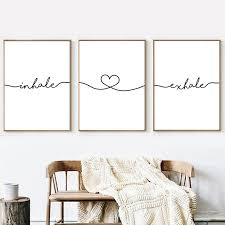 inhale exhale simple quotes wall art canvas poster mini st