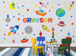 Outer Space Room Planet Wall Decals Kids Wall Stickers Peel Etsy Space Themed Room Childrens Wall Decals Space Themed Nursery