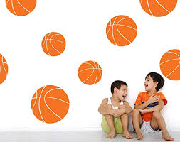 Amazon Com Boys Room Basketball Wall Decals Room Decor For Kids Removable Sports Stickers Set Of 9 Persimmon 30x30 Inches Home Kitchen