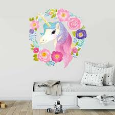 Dreamy Pink Pony Beautiful Unicorn Cartoon Wall Stickers Clouds Stars Moon Decor Kids Room Girl Bedroom Decal Wardrobe Stickers Wall Stickers Aliexpress