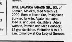 Jose Lagasca Faraon Sr Obit The Honolulu Advertiser, 26 Mar 2000 -  Newspapers.com