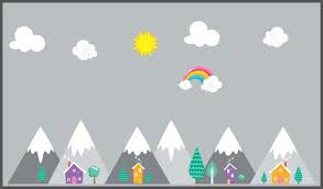 Mountain Wall Decals Landscape Wall Stickers Baby Room Decor Nurserydecals4you