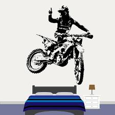 Motocross Motorbike Vinyl Wall Art Stickers Dirt Bike Window Decal Cool Style Boys Bedroom Club Man Cave Home Decoration Wish