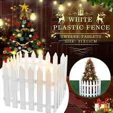 12pcs Home Garden White Plastic Picket Fence Miniature Christmas Tree Ornaments Only Fence Wish