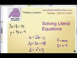 solving literal equations ma 8 a 4 1