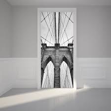 Door Wall Sticker Brooklyn Bridge In New York Peel Stick Repositio Royalwallskins