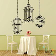 Birdcages Wall Decals Set Of 3 Cages With Por Wordybirdstudios Vinyl Wall Decals Wall Decal Sticker Wall Decals