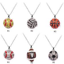 fashion crystal ball sports necklaces