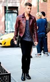 dark red leather jacket mens fashion