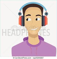 young cartoon man with headphones and