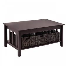 coffee table with 3 storage baskets