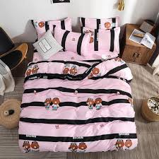 bedding set pink and black stripes cute