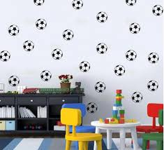 Mareya Trade 24pcs Footballs Soccer Balls Wall Stickers Art Sports Boys Poster Nursery Kids Room For Home Decoration Vinyl Diy Wall Decals