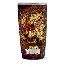 Skin Decal For Yeti 20 Oz Rambler Tumbler Cup Tiger On Fire Itsaskin Com