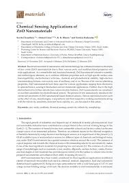 chemical sensing applications of zno