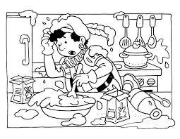 Kleurplaat Van Een Zwarte Piet Met Mislukt Eten Koken