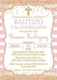 Espanol Rosa Y Oro Bautismo Y Primera Invitacion De Etsy