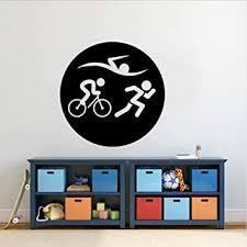 Amazon Com Wall Decor Wall Stickers Murals 48cmx48cm Fashion Triathlon Decal Swim Bike And Run Wall Sticker Pvc Gym Baby