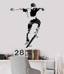 Vinyl Wall Decal Skateboarder Teen Room Skateboarding Stickers Unique Wallstickers4you