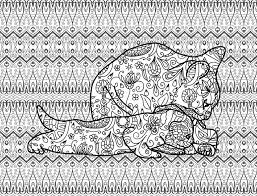 Kitten Line Art Coloring Page For Adults Mother Cat With A